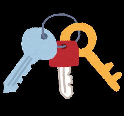 合鍵、スペアキー、家のカギ、ロッカーのカギ俺の合鍵。