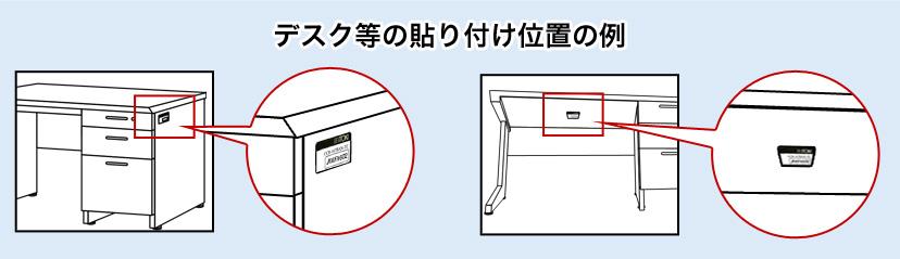 デスク・ワゴン等の製造番号シール位置(例)