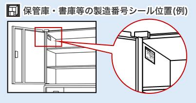書庫・保管庫等の製造番号シール位置(例)