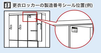 更衣ロッカーの製造番号シール位置(例)